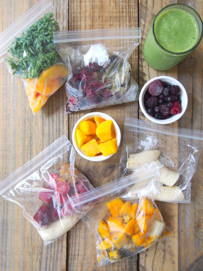 Freezer smoothie bags are an easy make ahead way to have a quick and easy breakfast