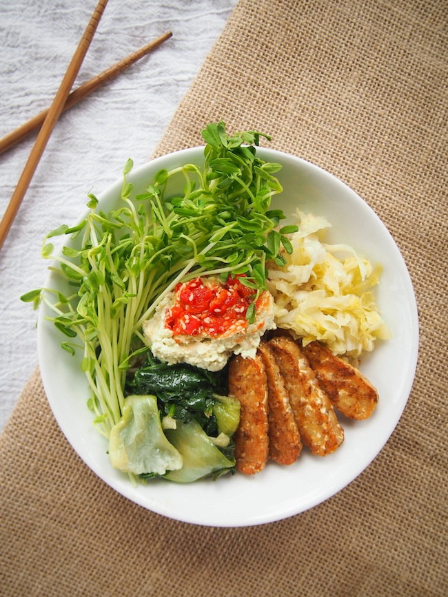 Brown Rice Bowl with Five Spice Tempeh and Garlicky Greens