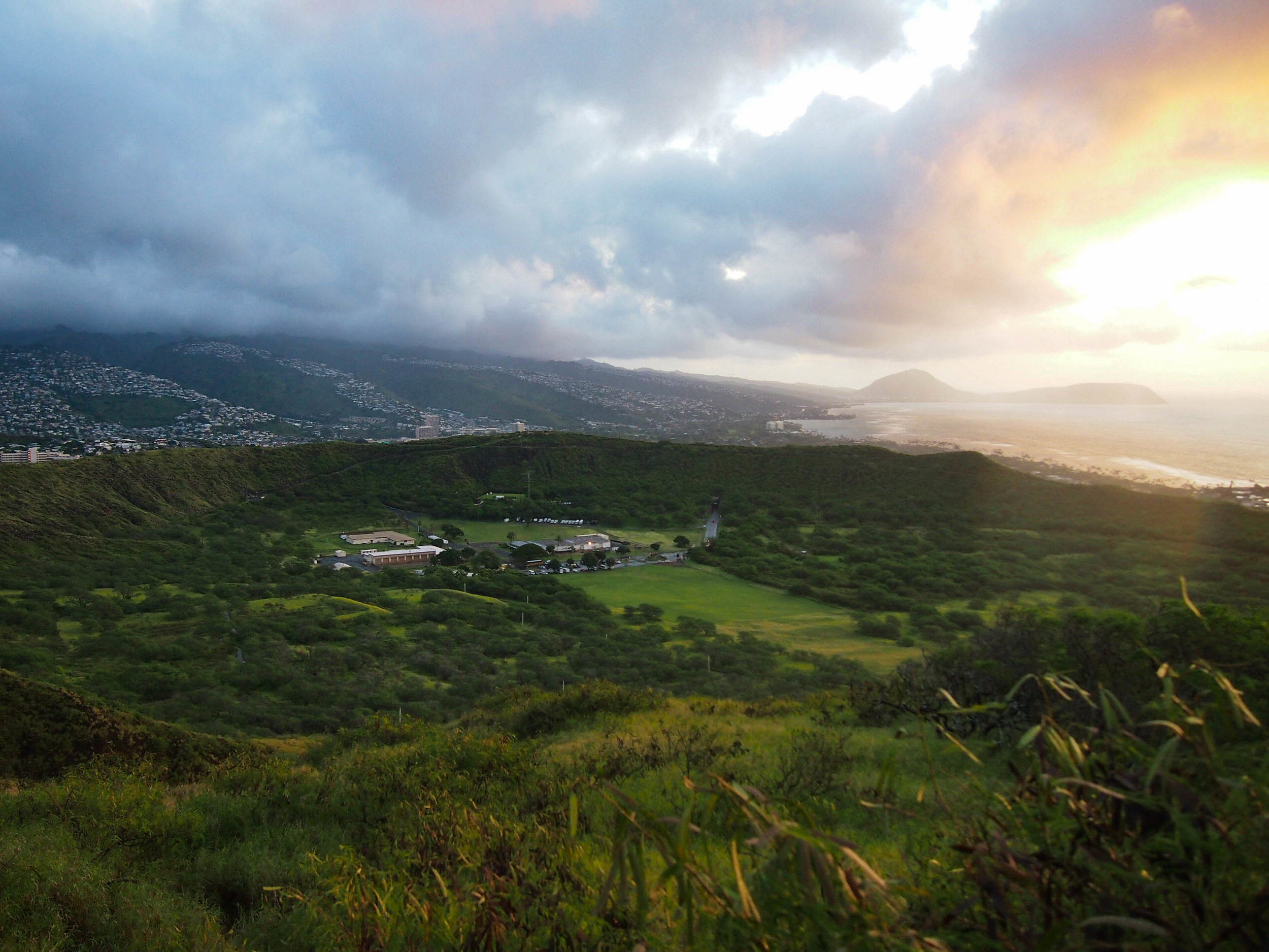 Sunrise over Oahu from Diamond Head Crater