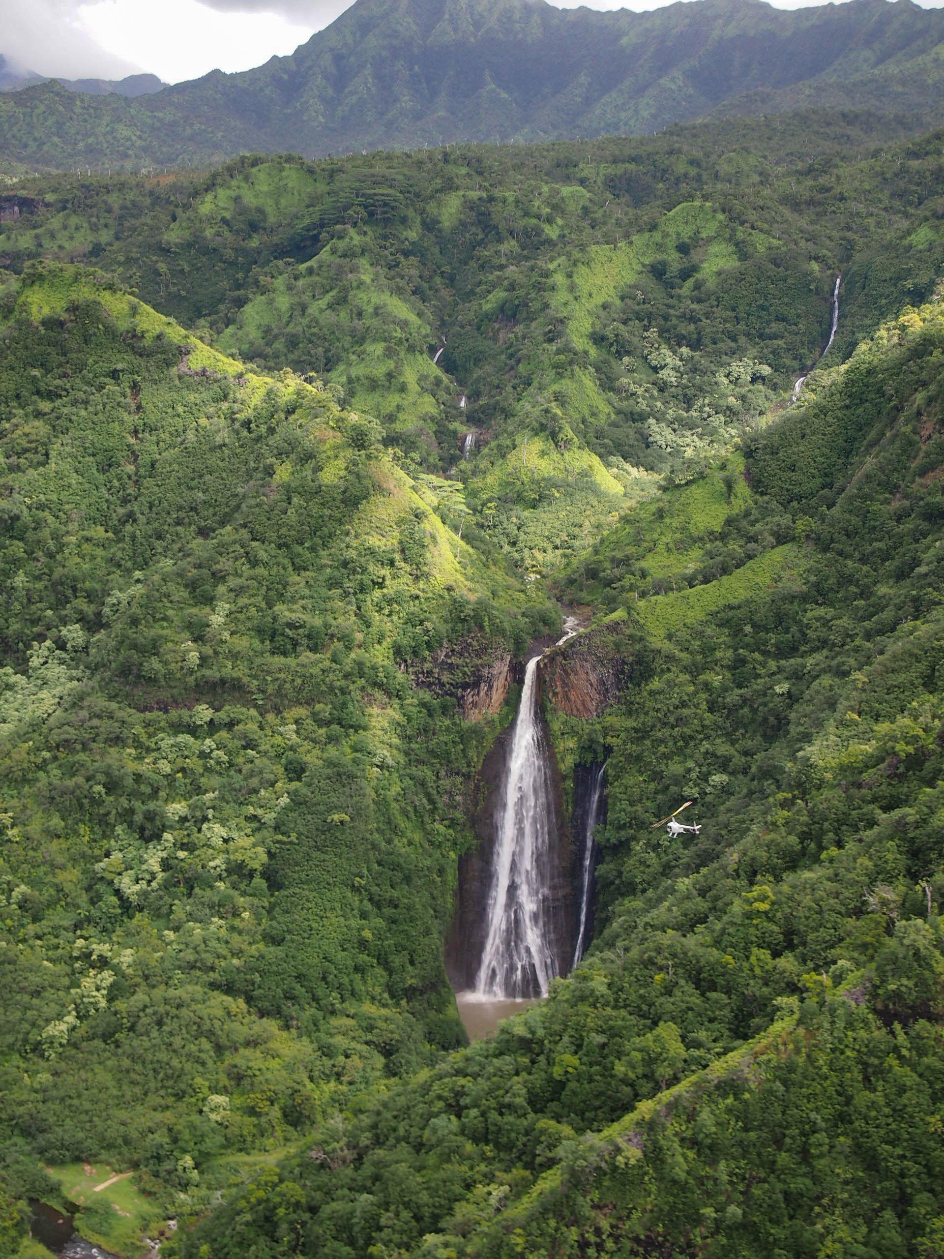 Waterfall from Jurassic Park in Kauai