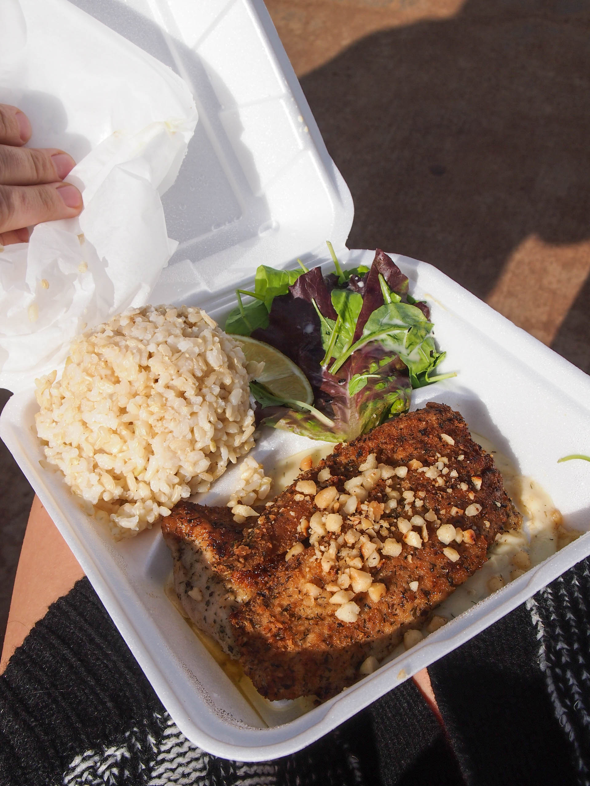 Macadamia nut crusted ahi from fish express
