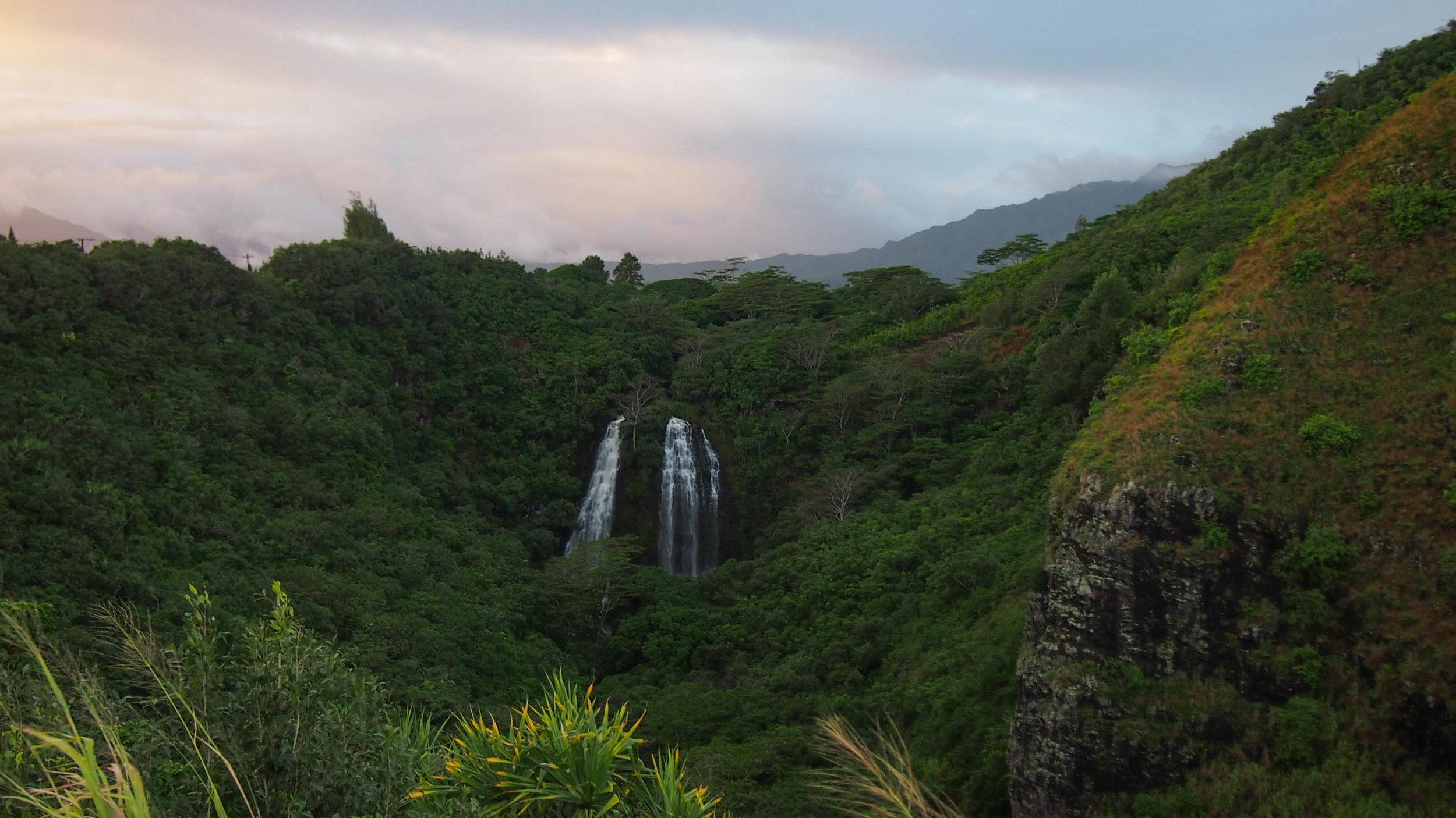 Sunset and waterfall on Kauai