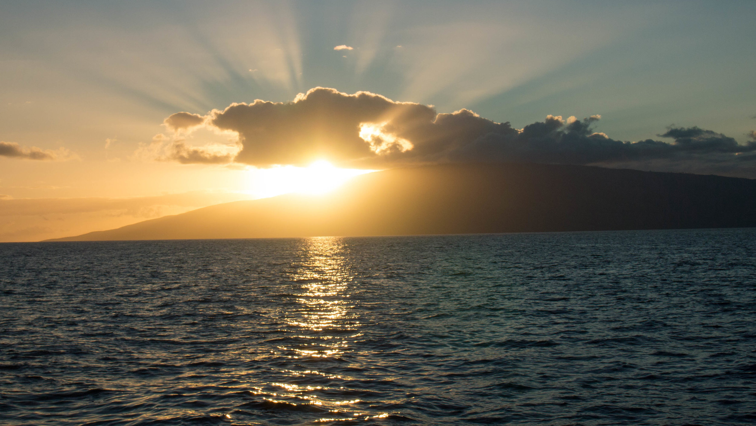 Sunset over Lanai from the boat