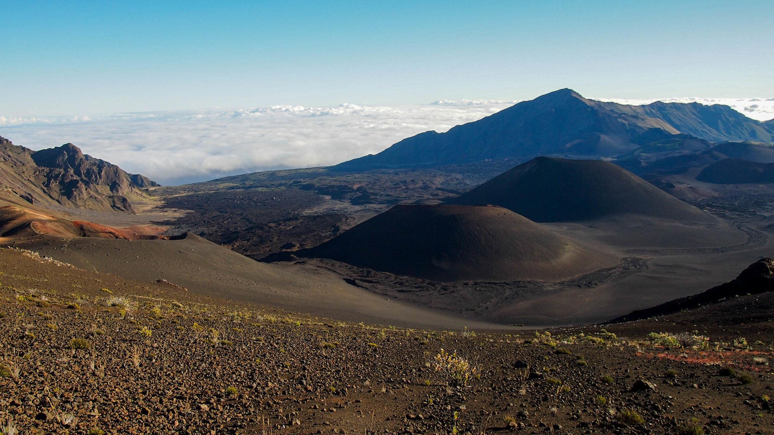 Cinder cones in the crater