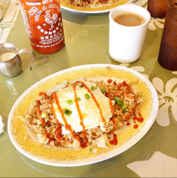 Portugese sausage fried rice, fried egg, and ALL the sriracha.