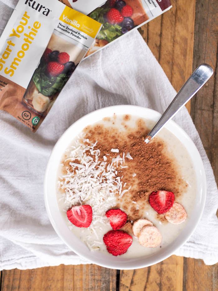 The creamiest vanilla chia smoothie bowl made with Kura protein powder!