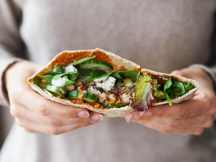 Chickpea Salad Pita with Muhammara and Veggies