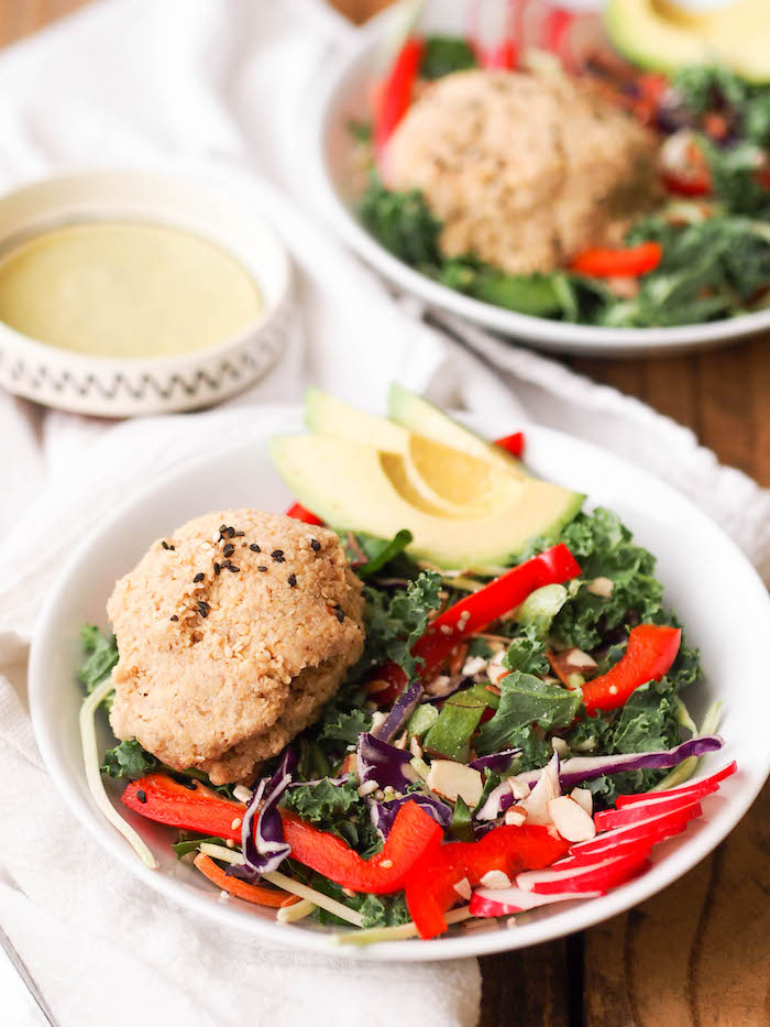 Asian Tempeh-Quinoa Salad with Wild Greens and Avocado Dressing