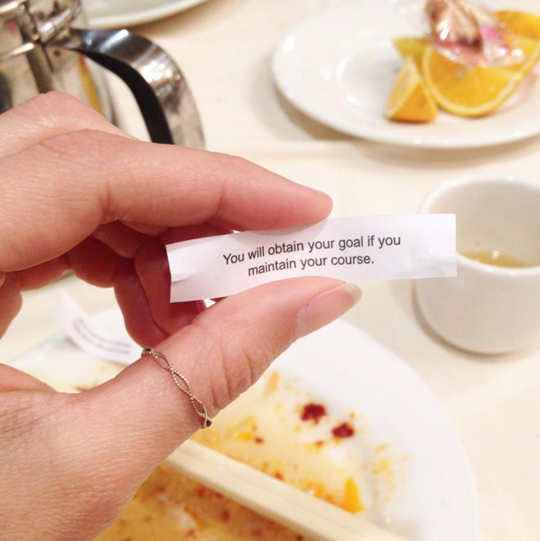 Fortune cookie from my pre-race meal was perfect. Too bad it was my husbands, not mine.