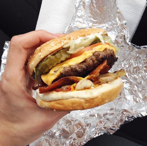 Five Guys burger with all the things is my go-to when a burger craving hits.