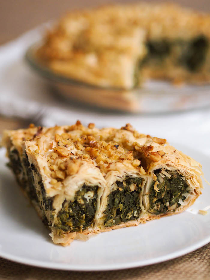 Coiled spinach phyllo pie with walnuts and feta