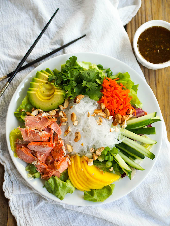 Curry Salmon Noodle Bowl with Mango and Soy-Lime Dressing