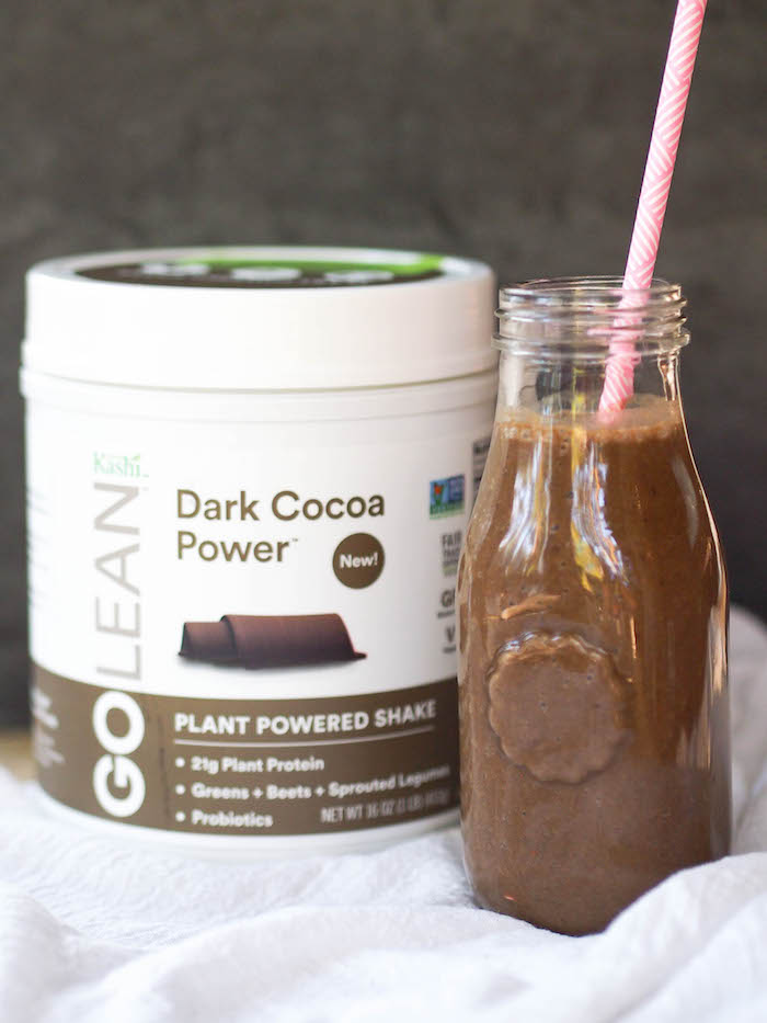 Dark chocolate ultimate recovery smoothie tastes like a chocolate milkshake and is packed with ingredients to make the most of your workout!