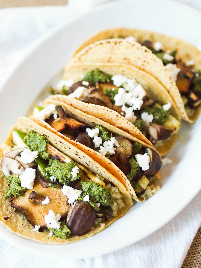 Summer Grilled Vegetable and Quinoa Tacos with Cilantro Pesto