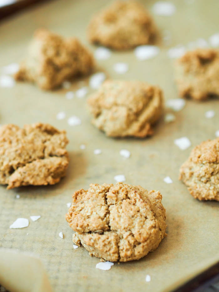 One bowl gluten free and vegan oatmeal cookies with crunchy sea salt!