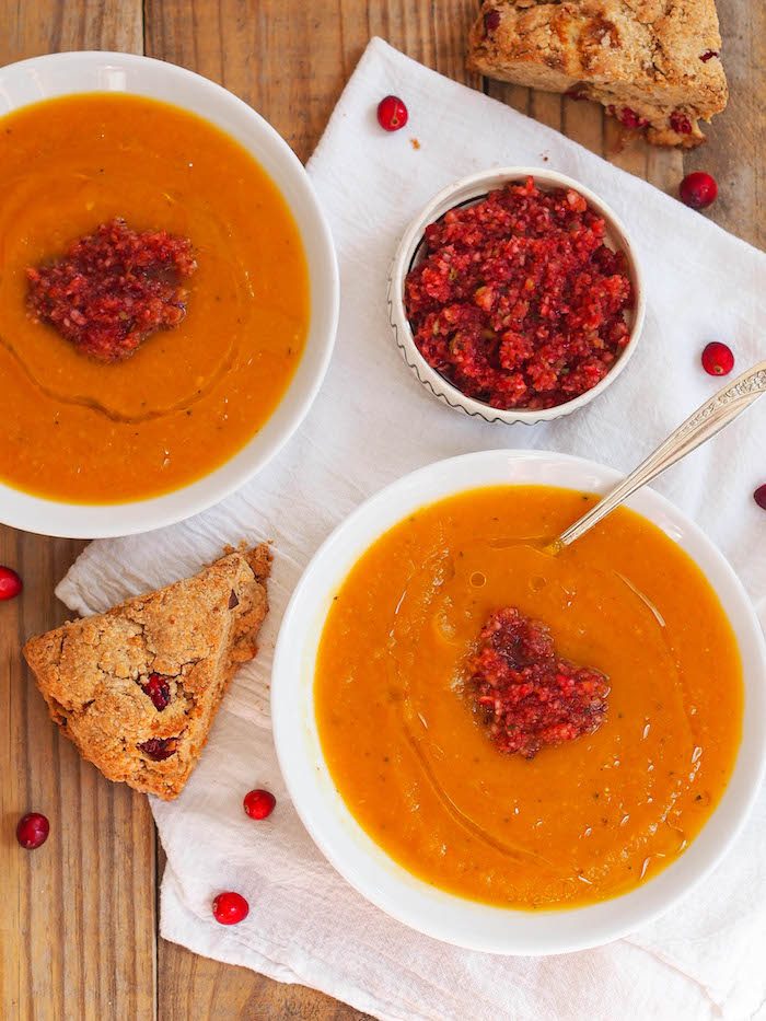 Creamy roasted butternut squash soup with a spicy cranberry salsa and cranberry studded blue cheese scones!