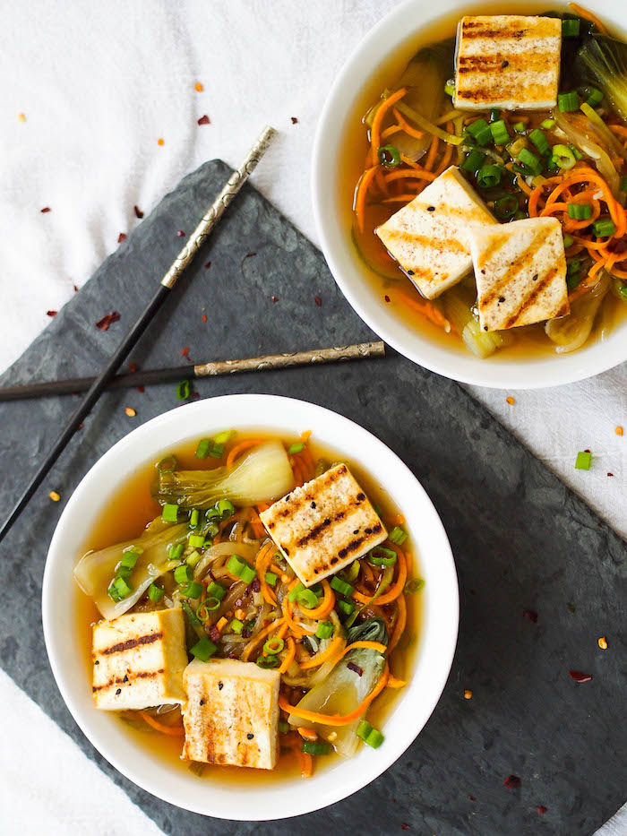 This Asian veggie noodle soup with tofu takes only 30 minutes to make!