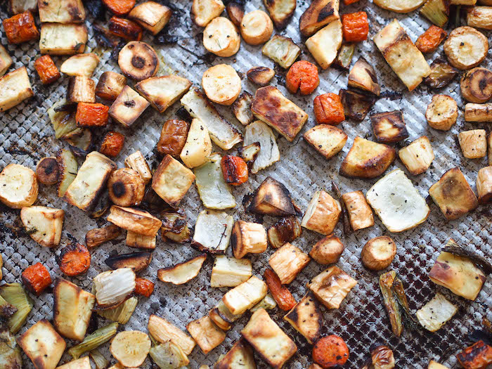 Roasted fall vegetables get sweet and caramelized in the oven!