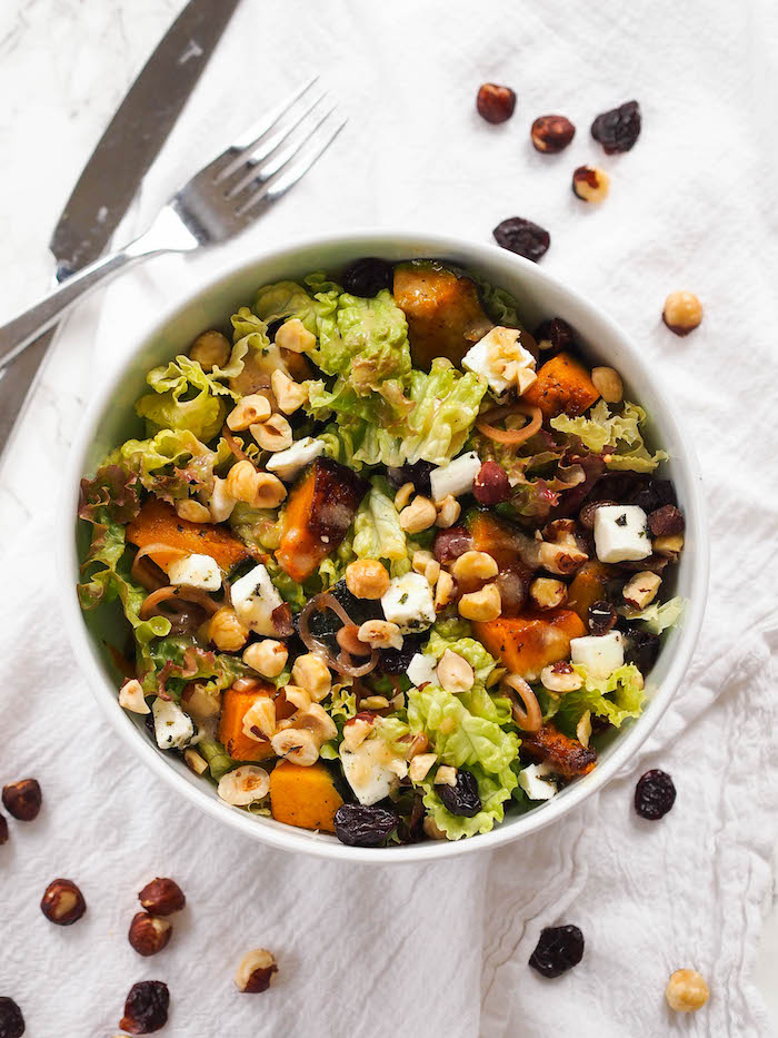 Roasted Kabocha Squash Salad with Creamy Garlic Dressing