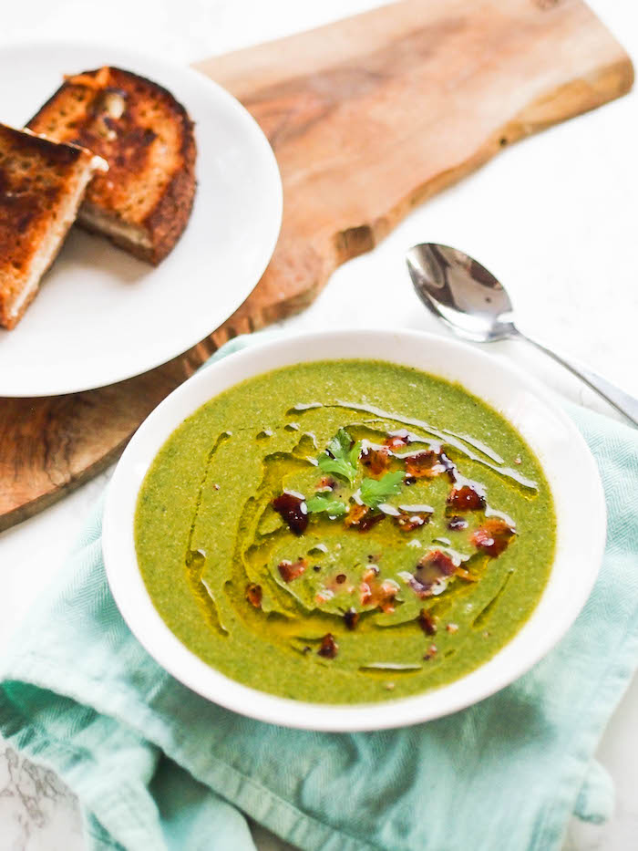 Spinach Apple Soup with Bacon Grilled Cheese