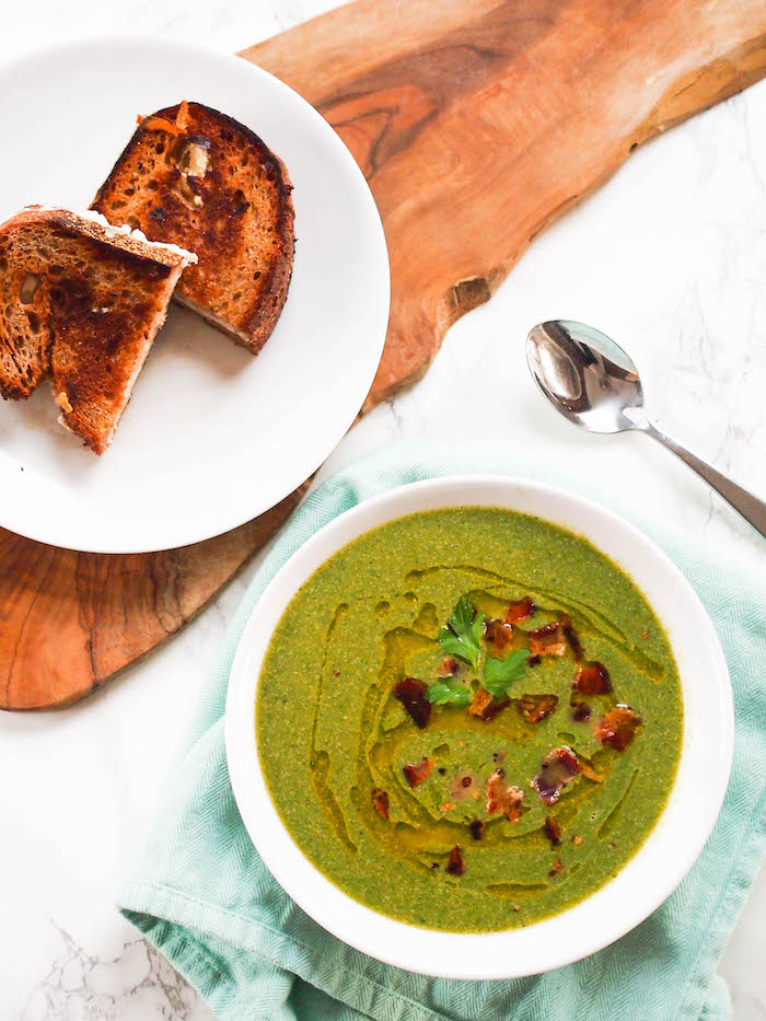 Spinach Apple Soup with Cheddar Goat Grilled Cheese
