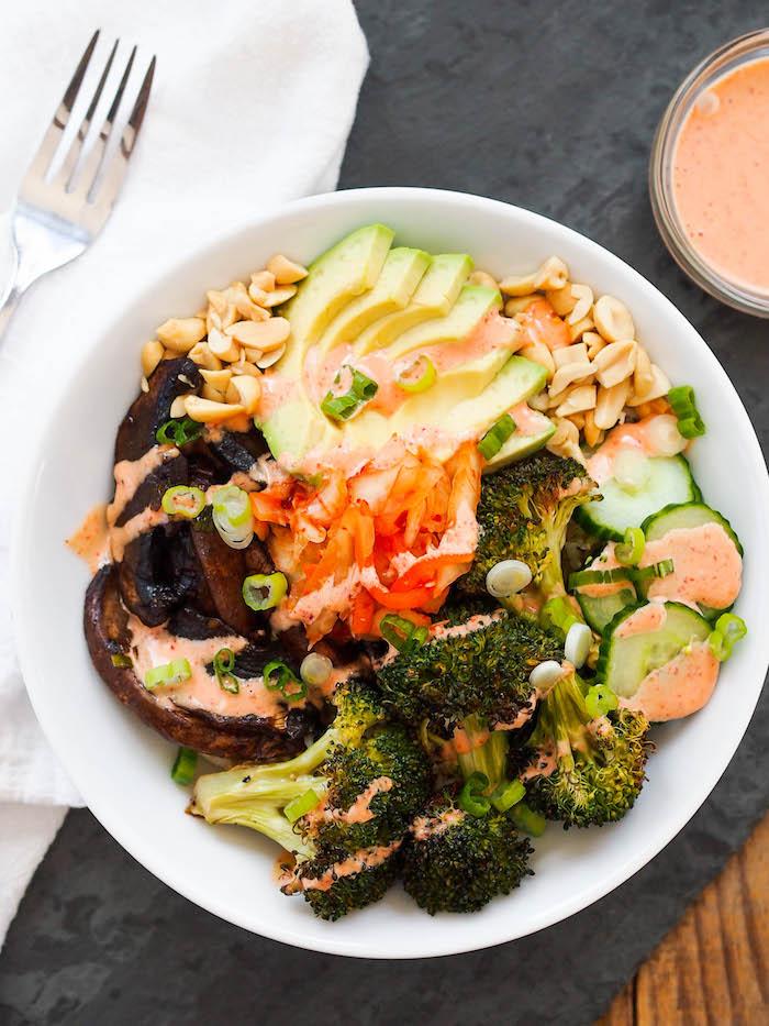 Vegan Portobello Mushroom Bulgogi Bowl with Sriracha Mayo