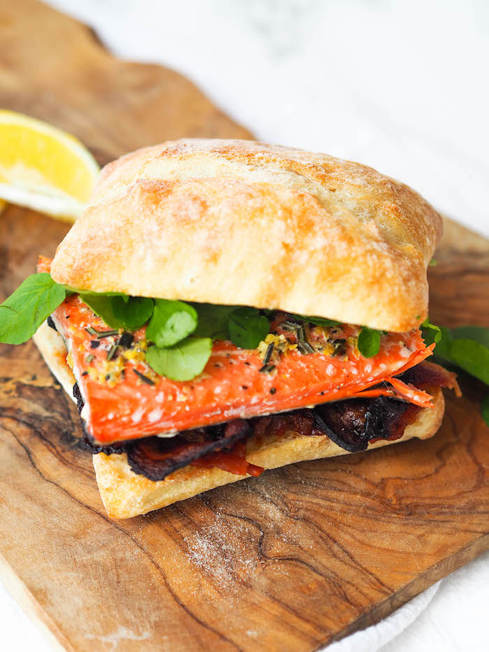 Salmon BLT with Tomato Jam and Watercress