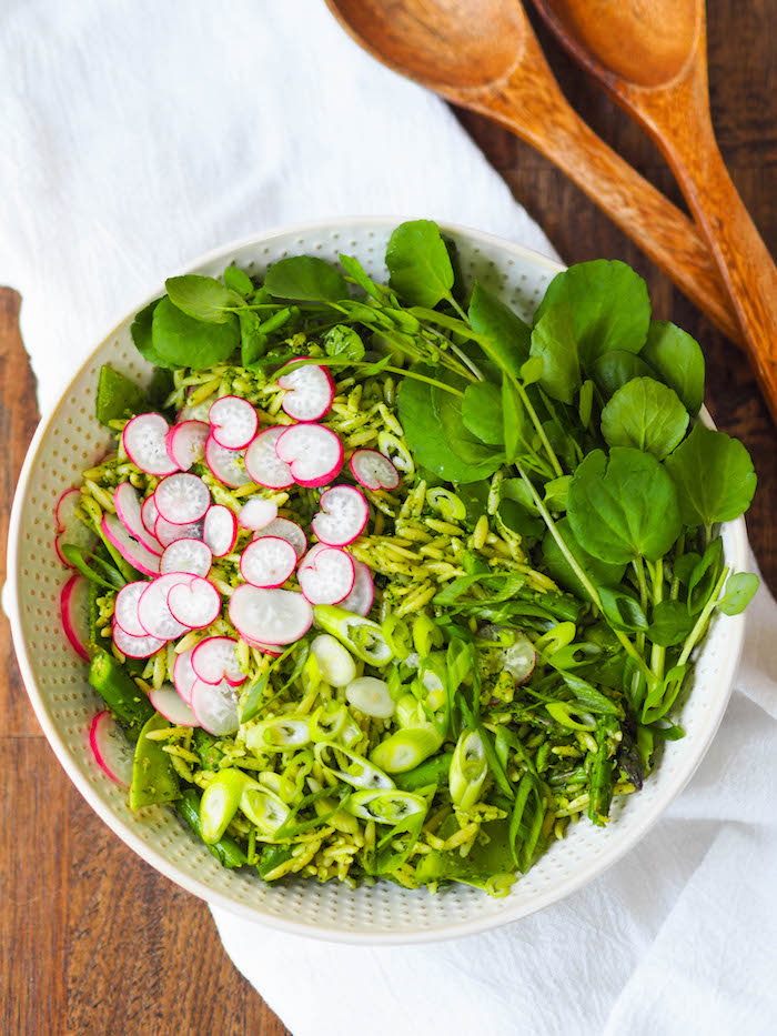 Spring Pasta Salad with Dill and Radish Green Pesto