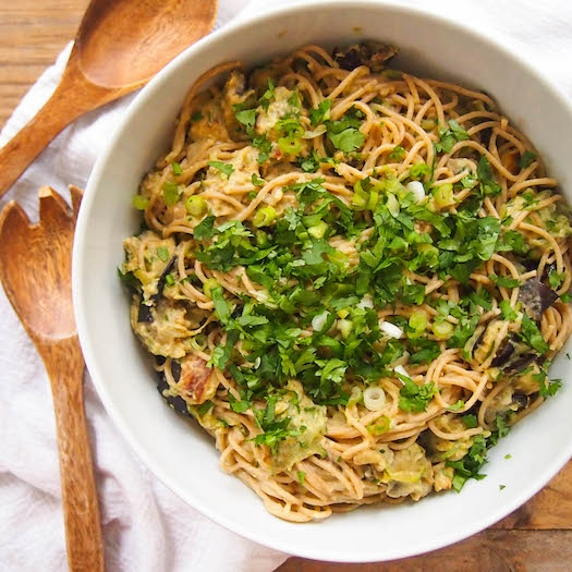 Spicy Hummus Pasta with Roasted Eggplant