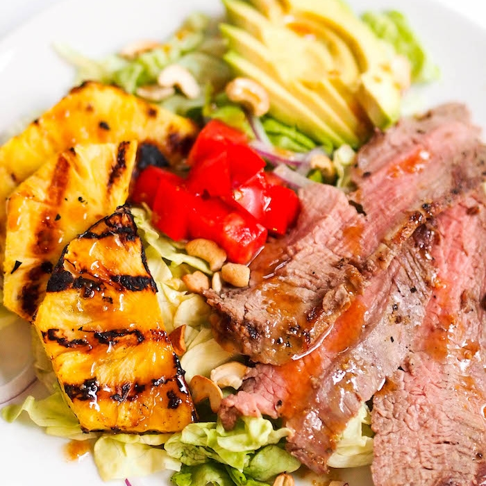 Flank Steak Salad with Grilled Pineapple and Soy Dressing