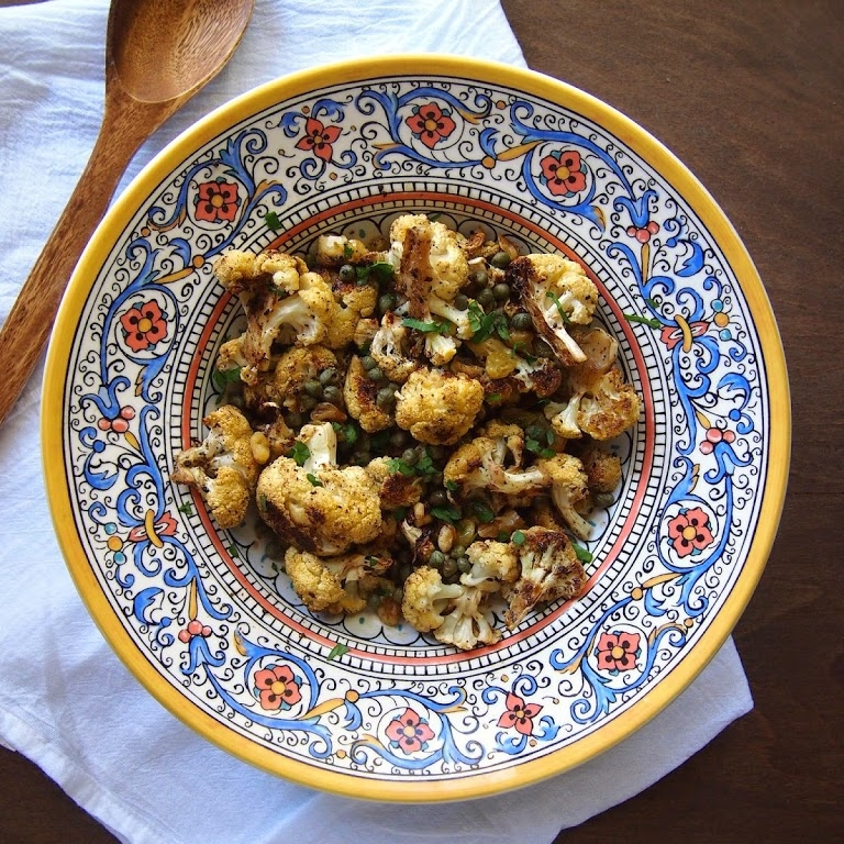 Caramelized Roasted Cauliflower with Capers and Golden Raisins