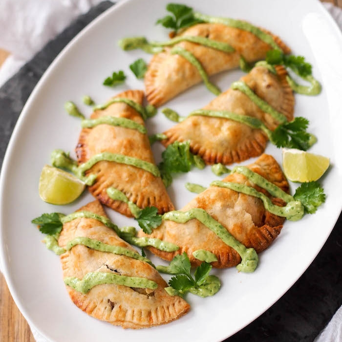 Potato, Corn and Goat Cheese Empanadas with Avocado Chimichurri