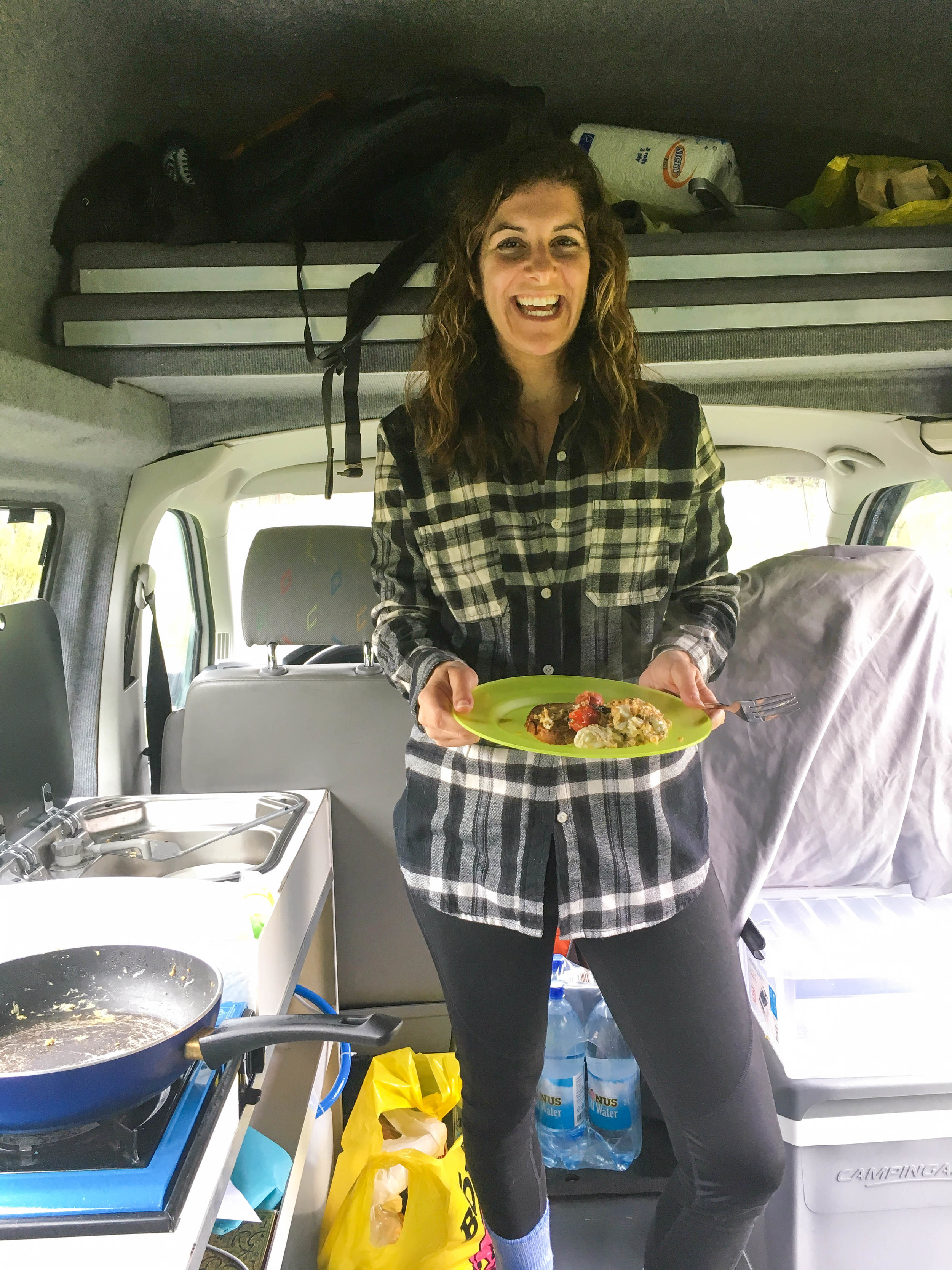 Camper van breakfast! Scrambled eggs and tomatoes with toast!