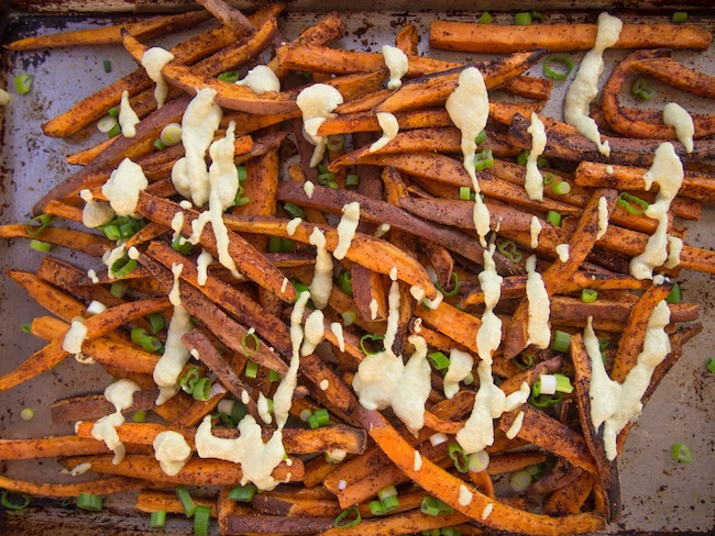 Spicy Baked Sweet Potato Fries with Vegan Cilantro-Lime Dipping Sauce