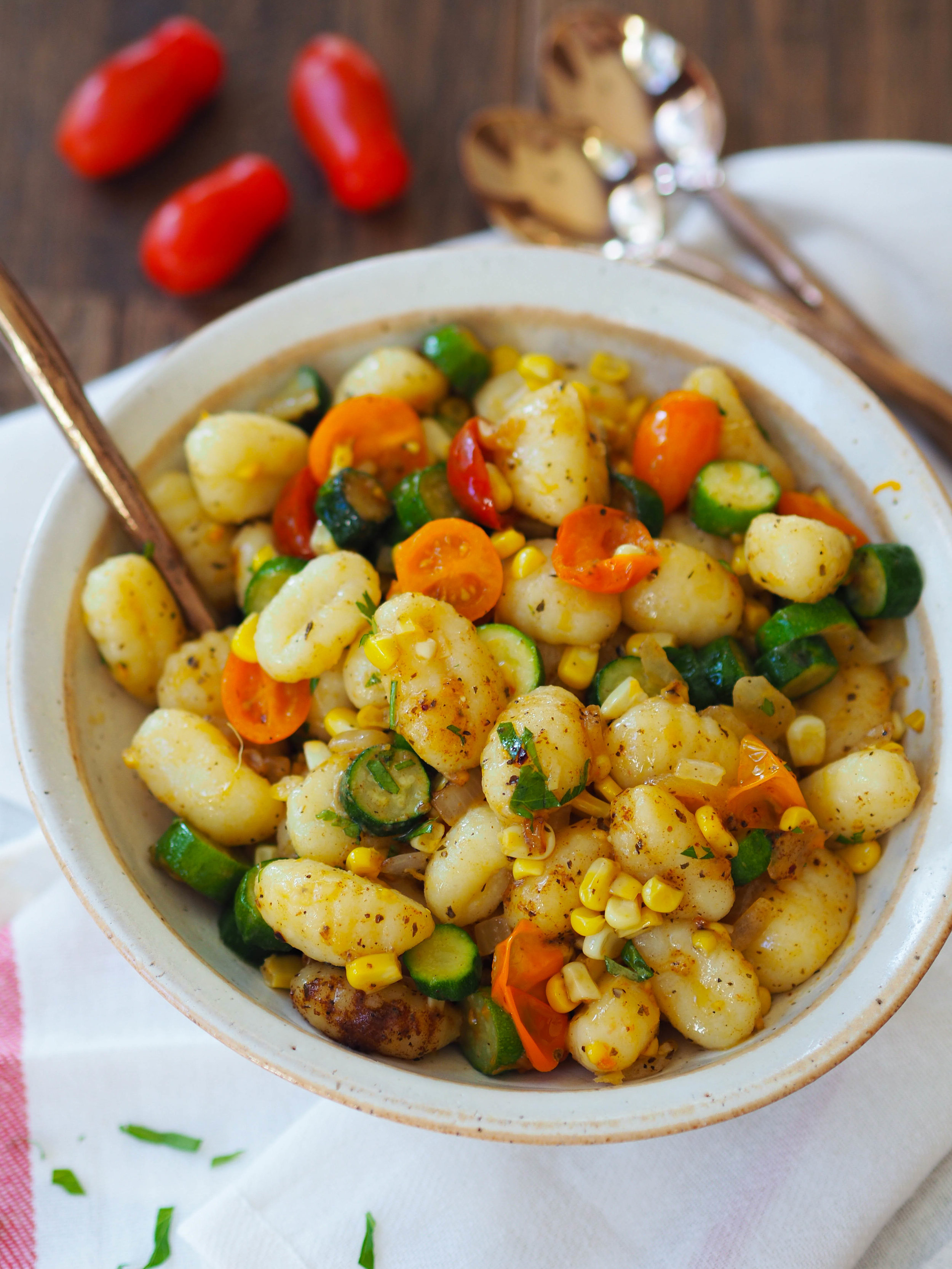 Vegetarian Summer Gnocchi with Basil Brown Butter