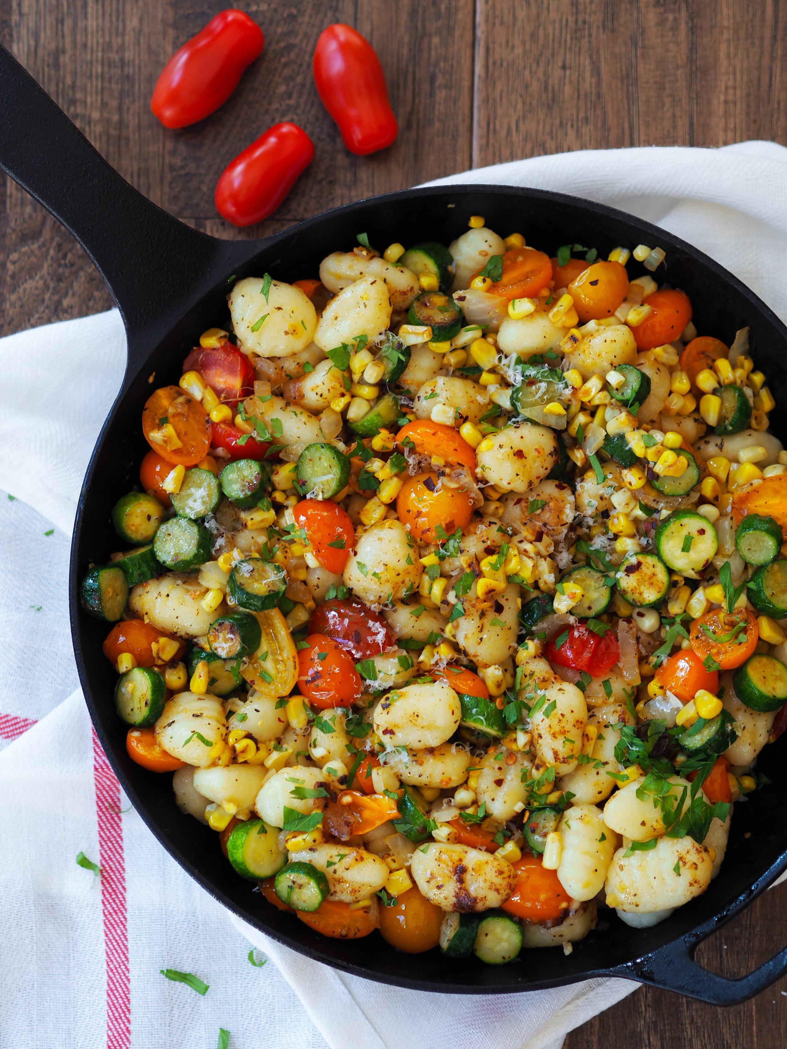 Summer Gnocchi with Basil Brown Butter with Vegetables