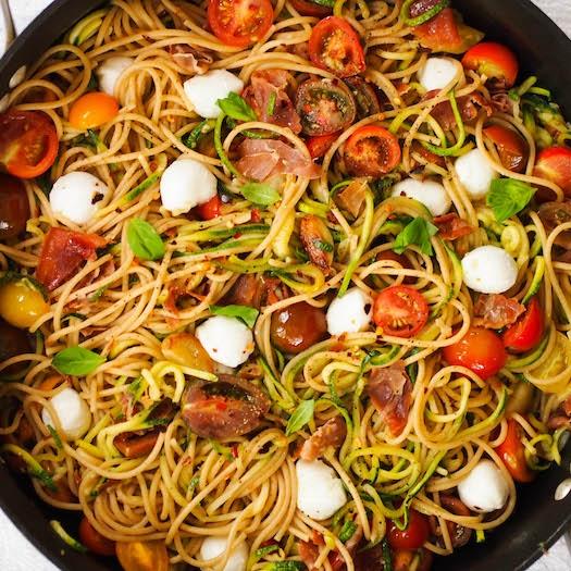 Summer Spaghetti with Zoodles, Crispy Prosciutto, and Mozzarella