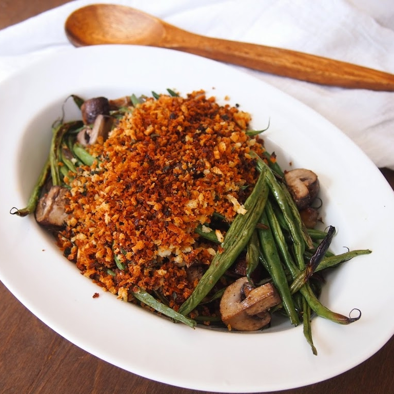 Roasted Haricot Verts and Mushrooms with Garlicky Breadcrumbs