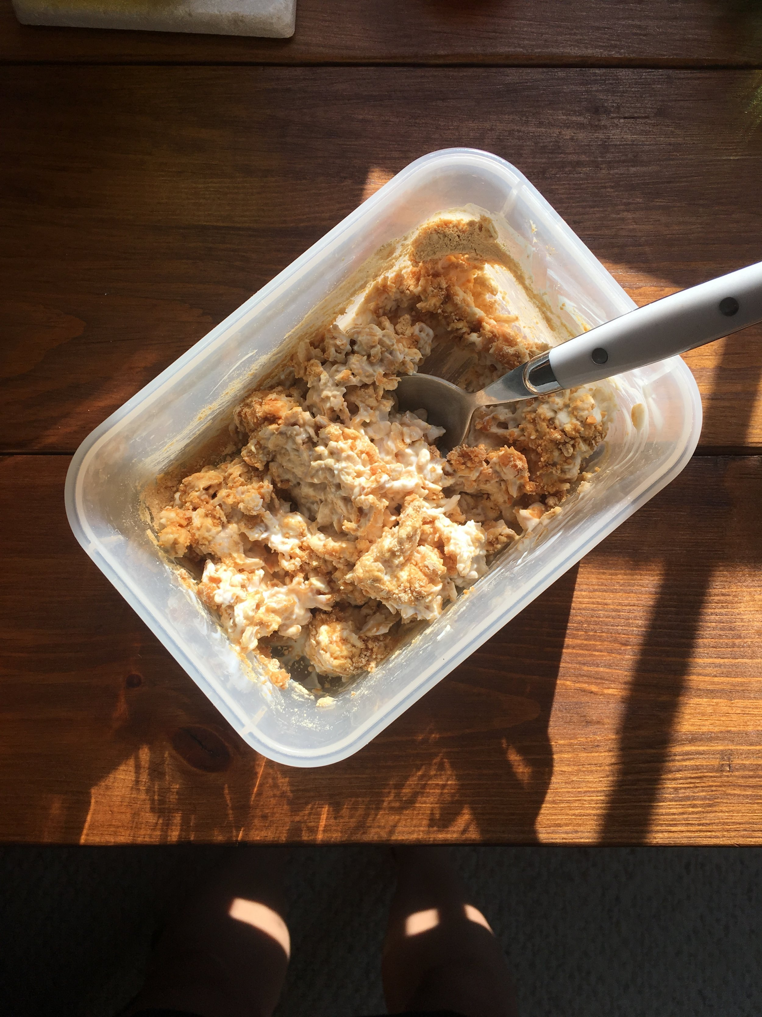 Overnight oats that weren't so overnight because I totally forgot to make them the night before. Just mixed oats, yogurt, peanut butter powder and honey in a tub and brought it to the office.