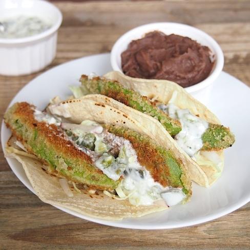 Fried Avocado Tacos with Jalapeno Sauce