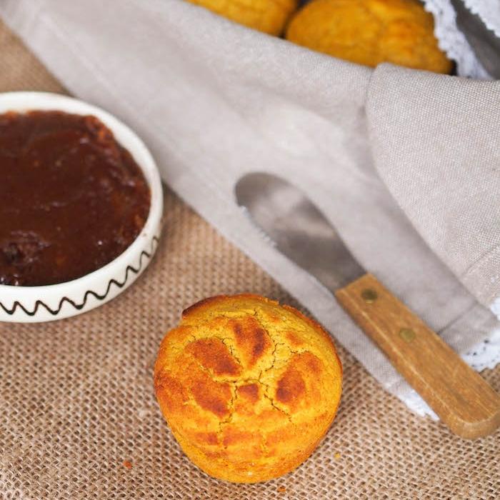 Pumpkin Cornbread Muffins with Date Butter