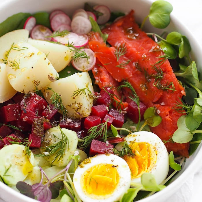 Nordic Salad with Smoked Salmon and Lemon-Dill Oil