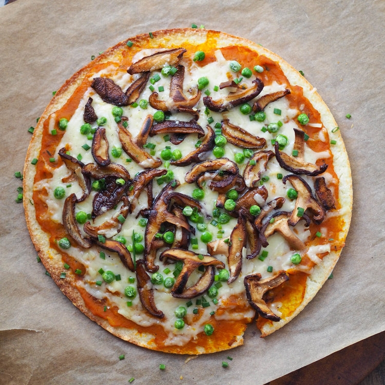 Pumpkin, Shiitake and Gruyere Pizza on a Cauliflower Crust