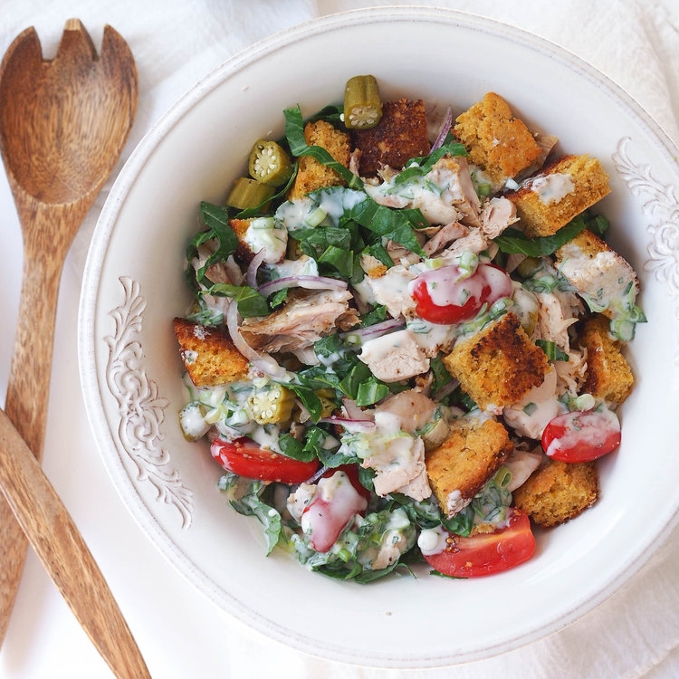 Cornbread Panzanella with Turkey and Buttermilk Dressing