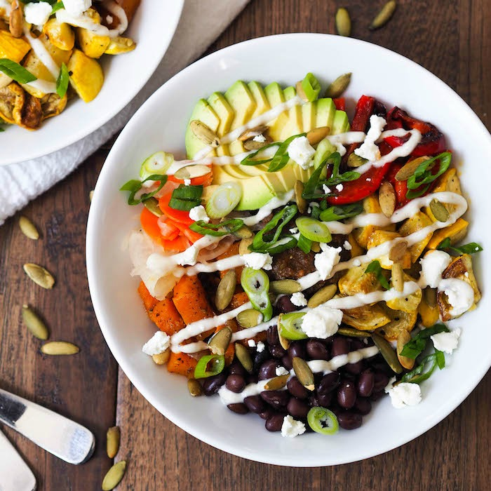 Spicy Butternut Brown Rice Bowl with Cumin-Lime Crema
