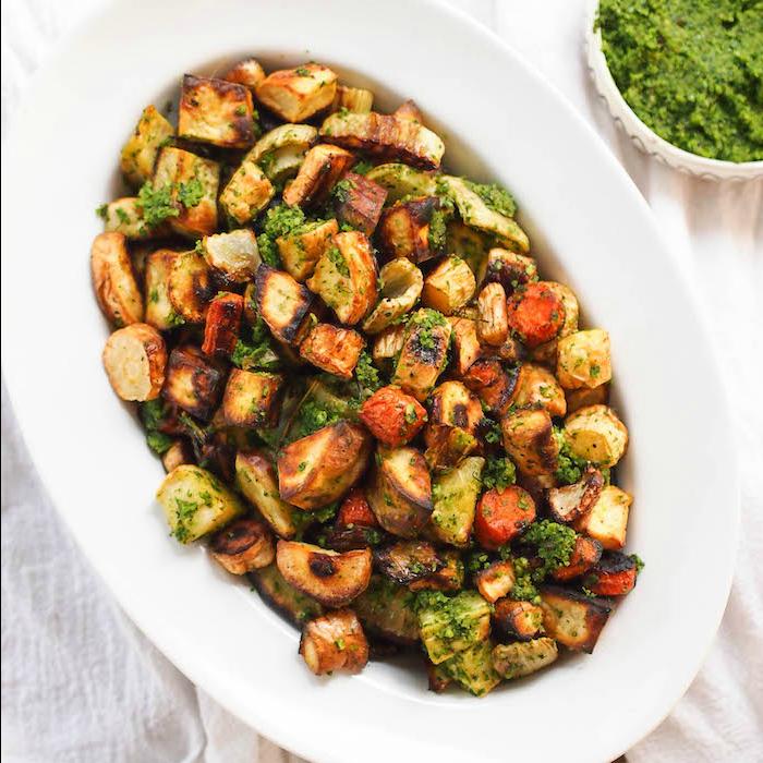 Roasted Fall Vegetables with Kale-Hazelnut Pesto