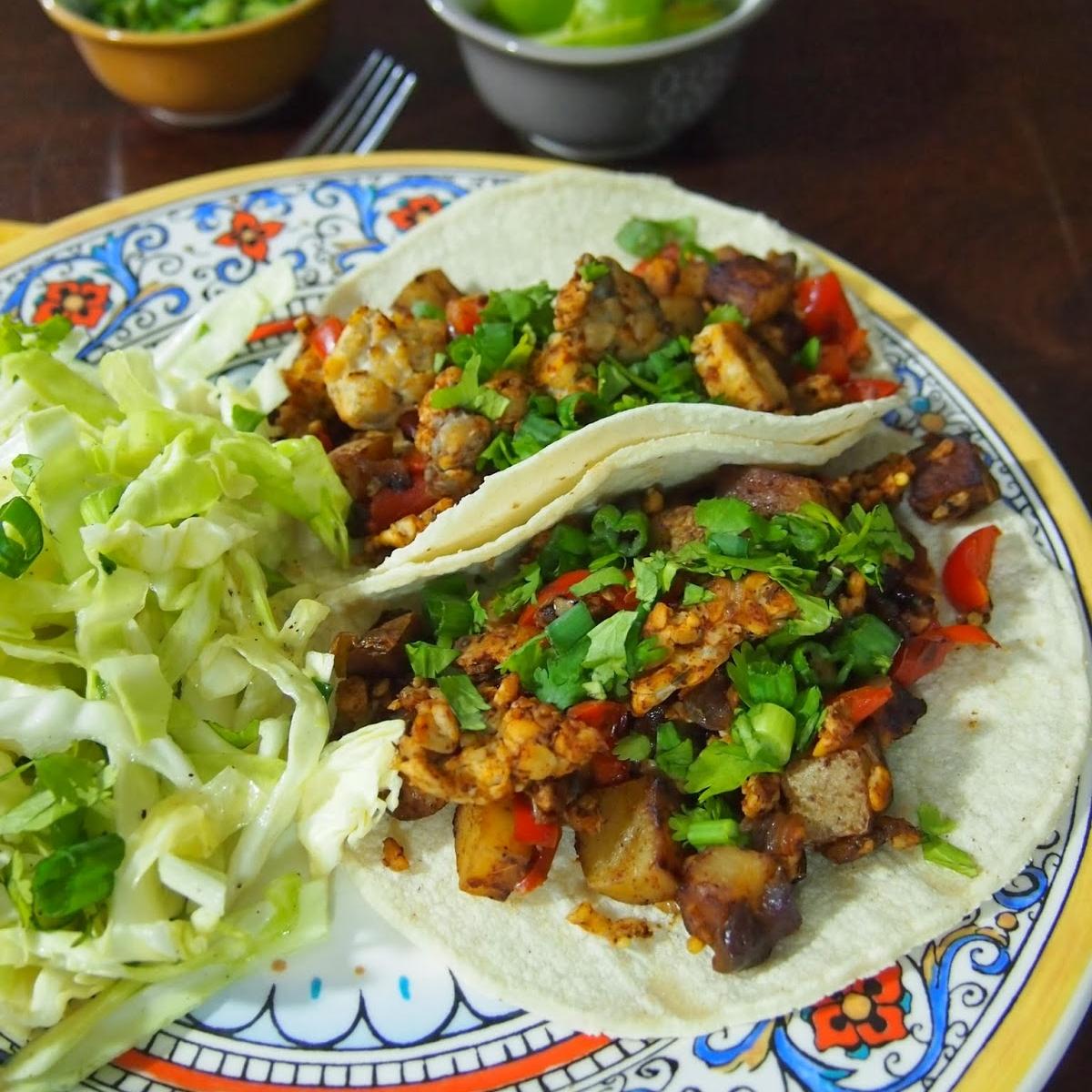 Chorizo Tempeh and Potato Tacos