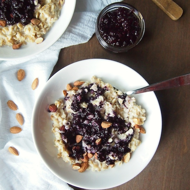 Toasted Coconut Oatmeal with Wild Blueberry Chia Jam