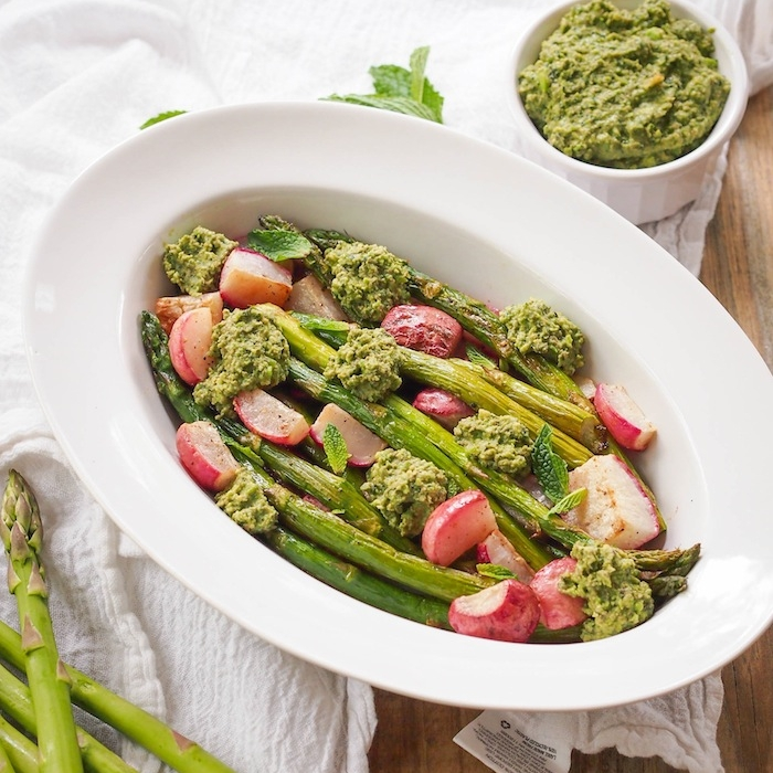 Roasted Asparagus and Radishes with Mint Pea Pesto