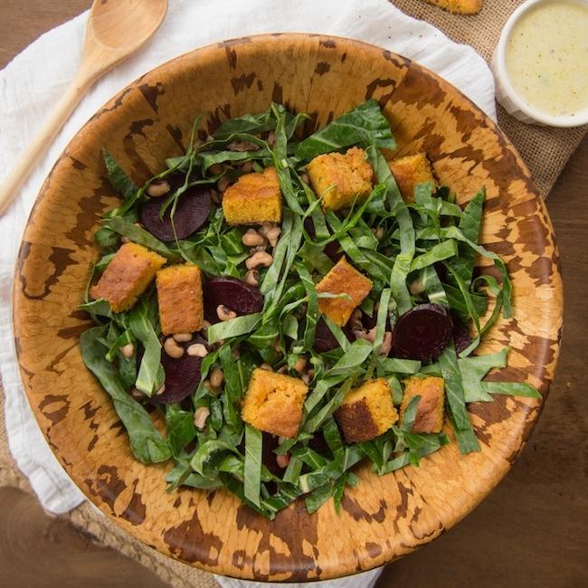 Collard Green Salad with Cornbread Croutons & Black-Eyed Peas